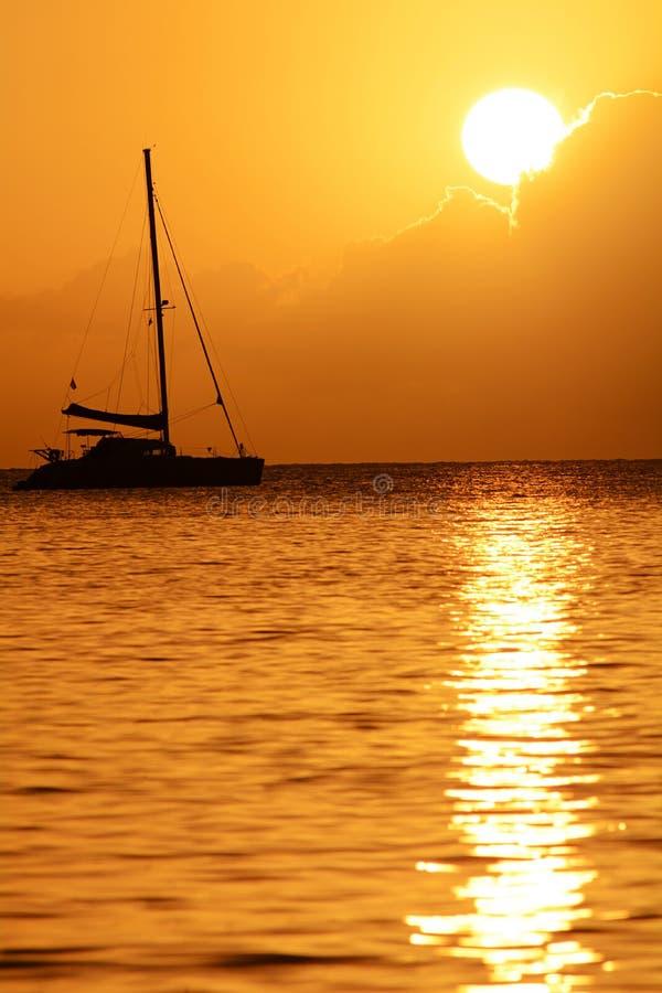 马提尼克岛日落 免版税图库摄影