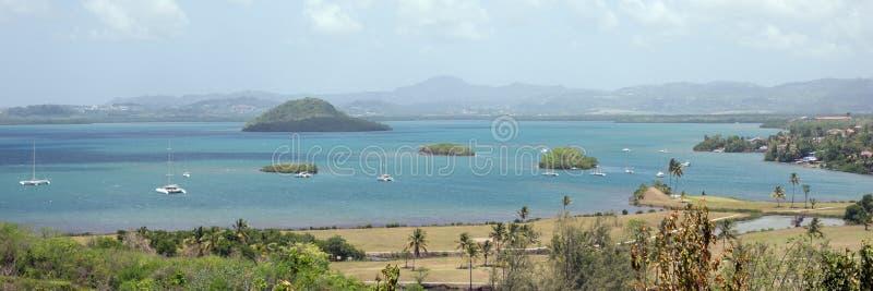 马提尼克岛,列斯Trois Ilets美丽如画的小游艇船坞  免版税库存图片
