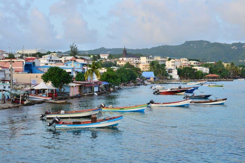 马提尼克岛,美丽如画的市印度西部的Sainte Luce 库存照片