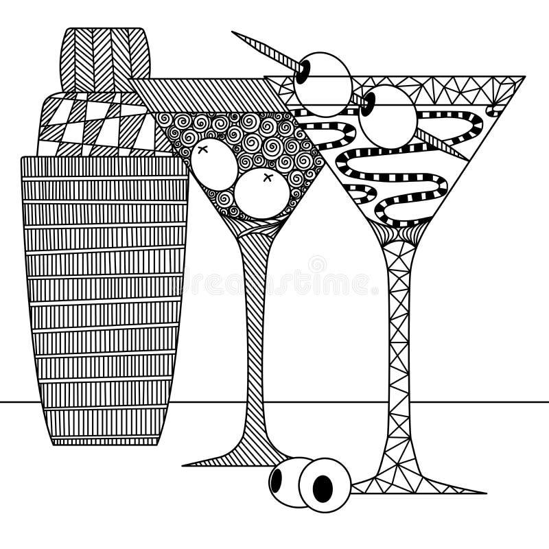 马提尼酒杯,橄榄,泽纳特风格的摇瓶,涂鸦,朝叙伊,黑白的静物 皇族释放例证