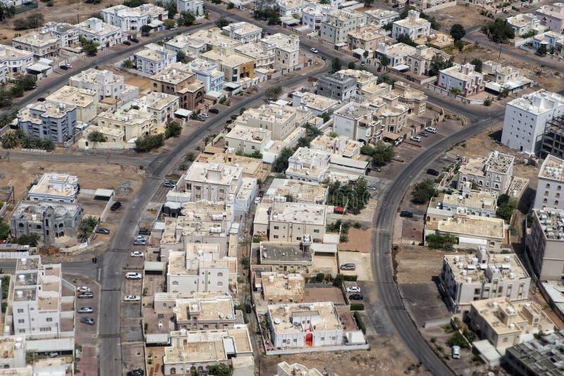 马斯喀特阿拉伯镇鸟瞰图landcape 免版税库存图片