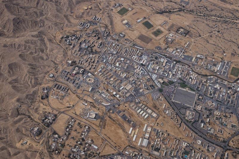 马斯喀特阿拉伯镇鸟瞰图landcape 免版税库存照片
