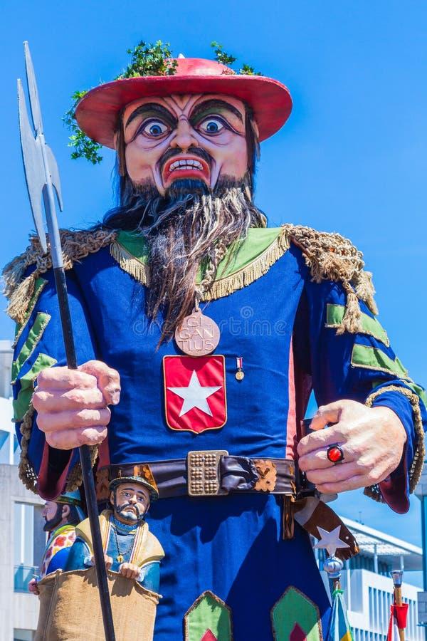 马斯特里赫特巨人的第50周年的庆祝:与游行的Giantius 免版税库存图片