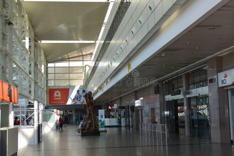 马普托国际机场知情人照片  免版税库存图片