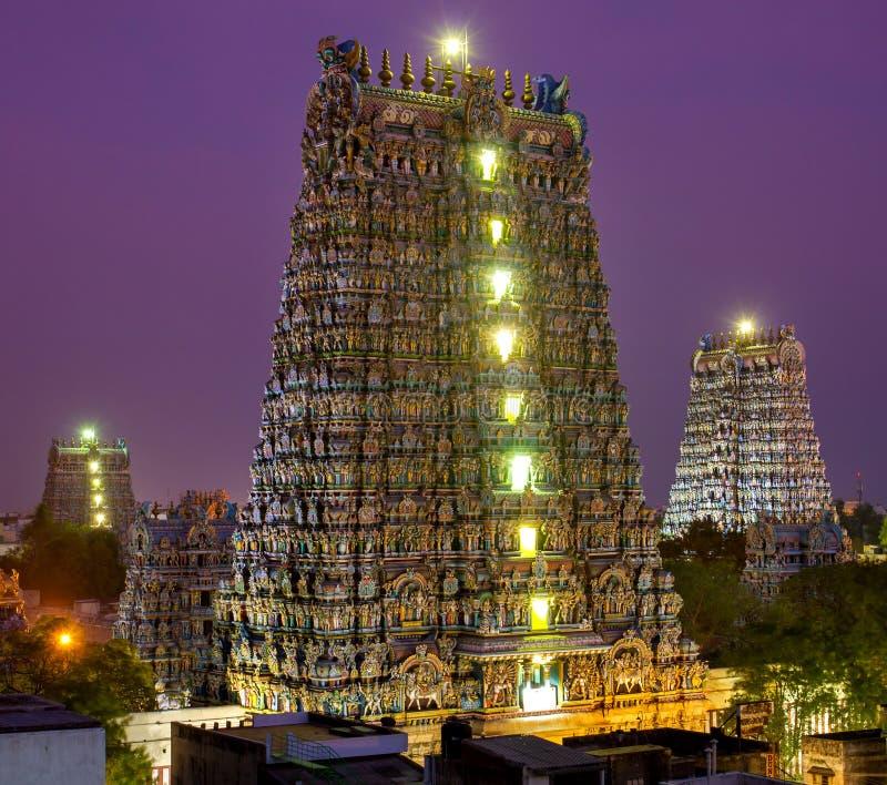 马杜赖,印度Meenakshi寺庙 库存图片