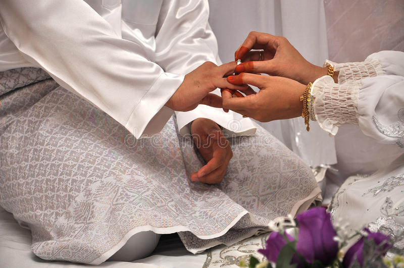 马来的传统婚礼 免版税库存照片