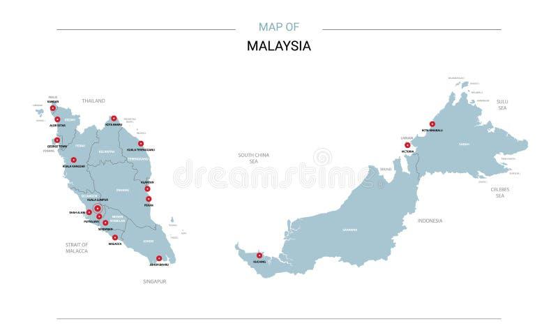 马来西亚与红色别针的地图传染媒介 向量例证
