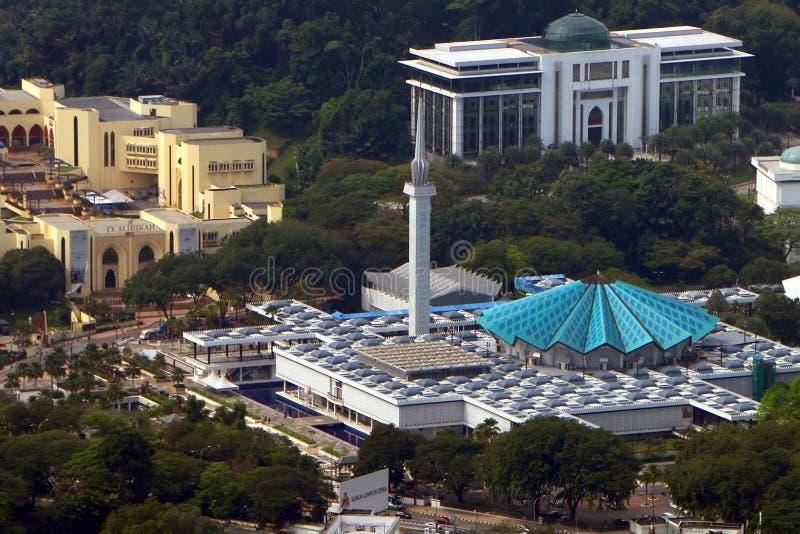 马来西亚全国清真寺或Masjid内加拉在吉隆坡,马来西亚 它安装了 免版税库存照片