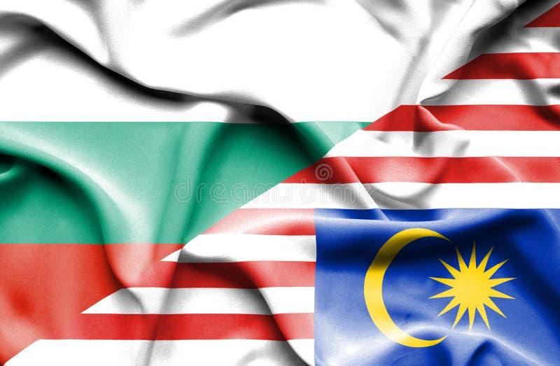 马来西亚和保加利亚的挥动的旗子 向量例证