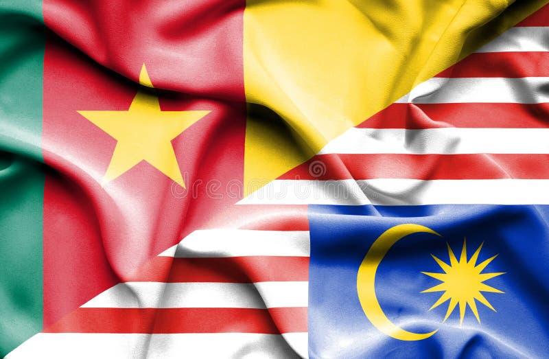 马来西亚和喀麦隆的挥动的旗子 库存例证