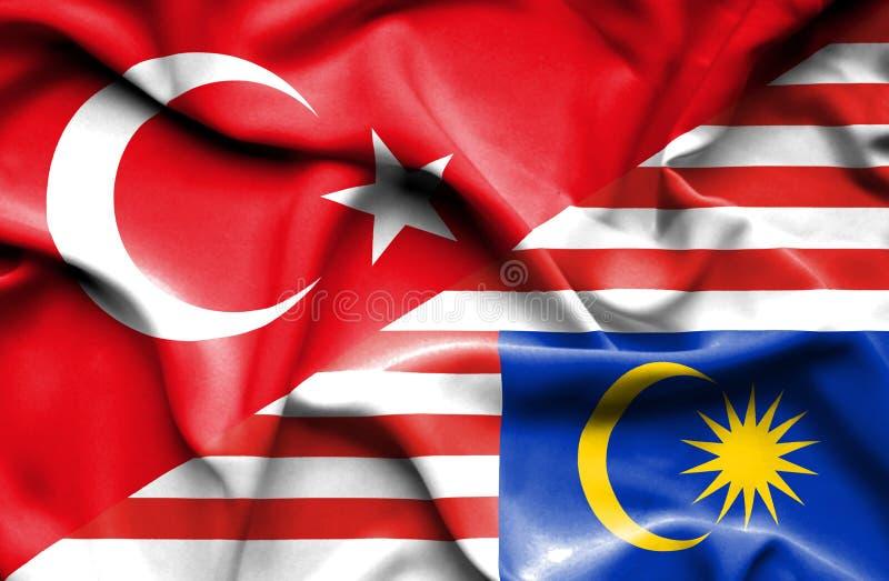 马来西亚和土耳其的挥动的旗子 向量例证