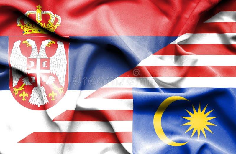 马来西亚和塞尔维亚的挥动的旗子 库存例证