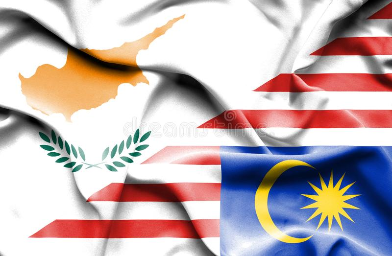 马来西亚和塞浦路斯挥动的旗子  皇族释放例证