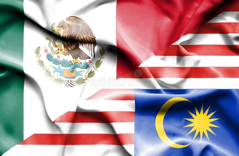 马来西亚和墨西哥的挥动的旗子 皇族释放例证