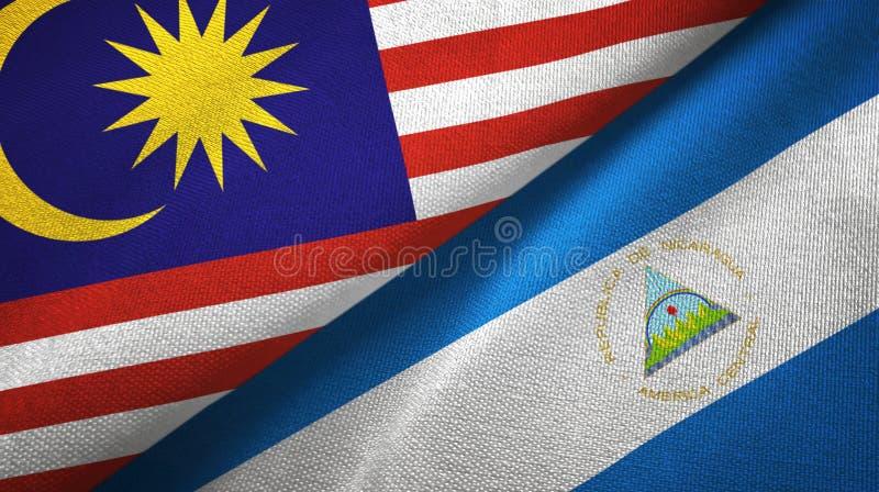 马来西亚和尼加拉瓜两旗子纺织品布料,织品纹理 向量例证