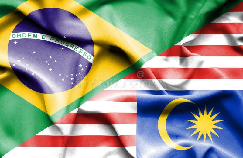 马来西亚和巴西的挥动的旗子 向量例证