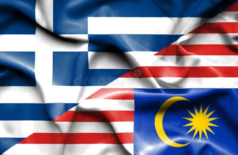 马来西亚和希腊的挥动的旗子 库存例证