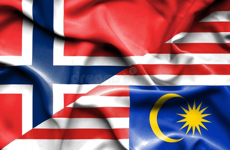 马来西亚和挪威的挥动的旗子 库存例证