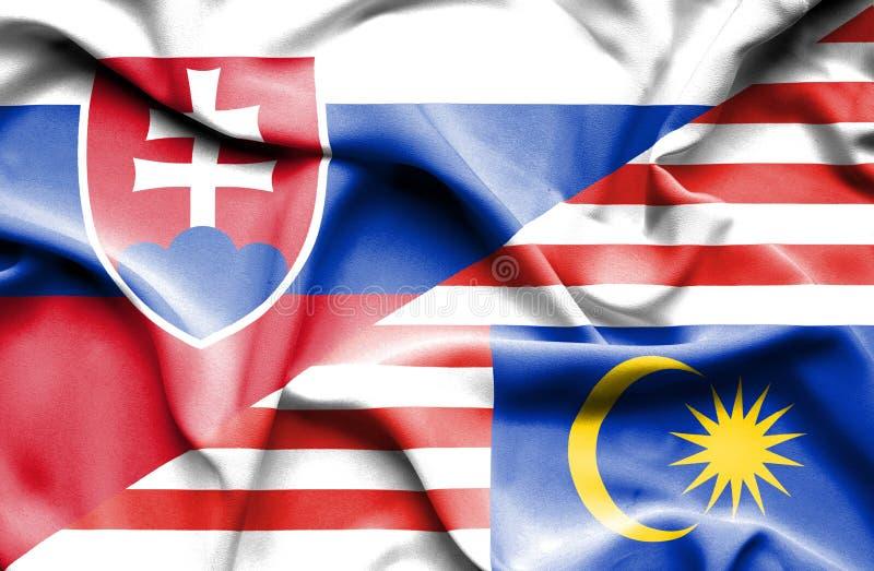 马来西亚和斯洛伐克挥动的旗子  库存例证