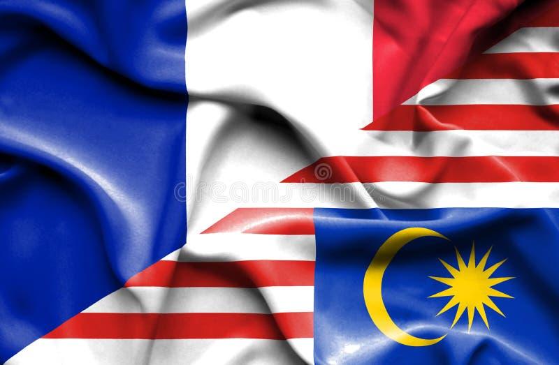 马来西亚和法国的挥动的旗子 向量例证