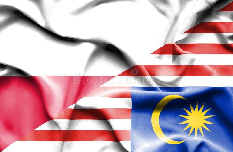 马来西亚和波兰的挥动的旗子 皇族释放例证