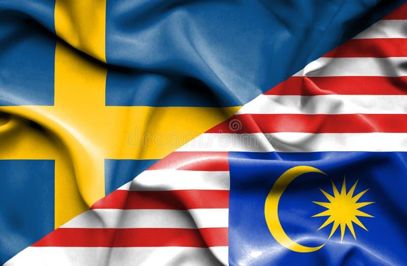 马来西亚和瑞典的挥动的旗子 库存例证