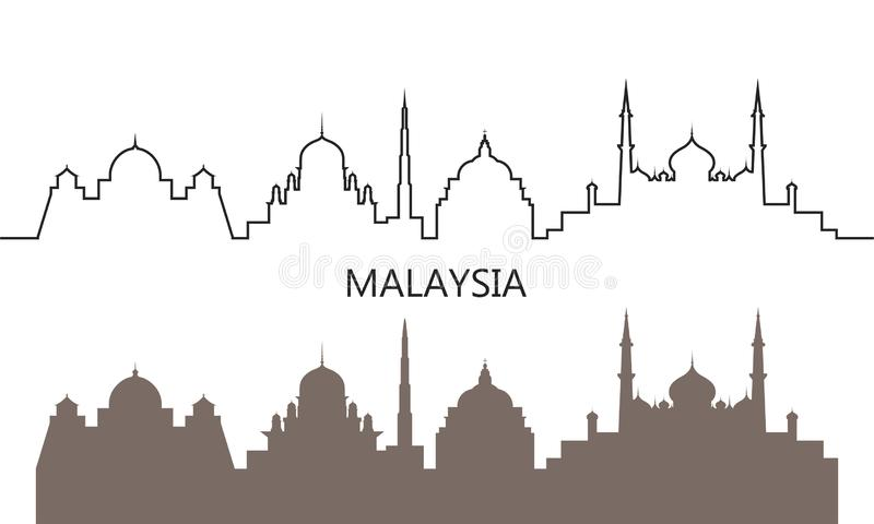 马来西亚商标 在白色背景的被隔绝的马来西亚建筑学 皇族释放例证