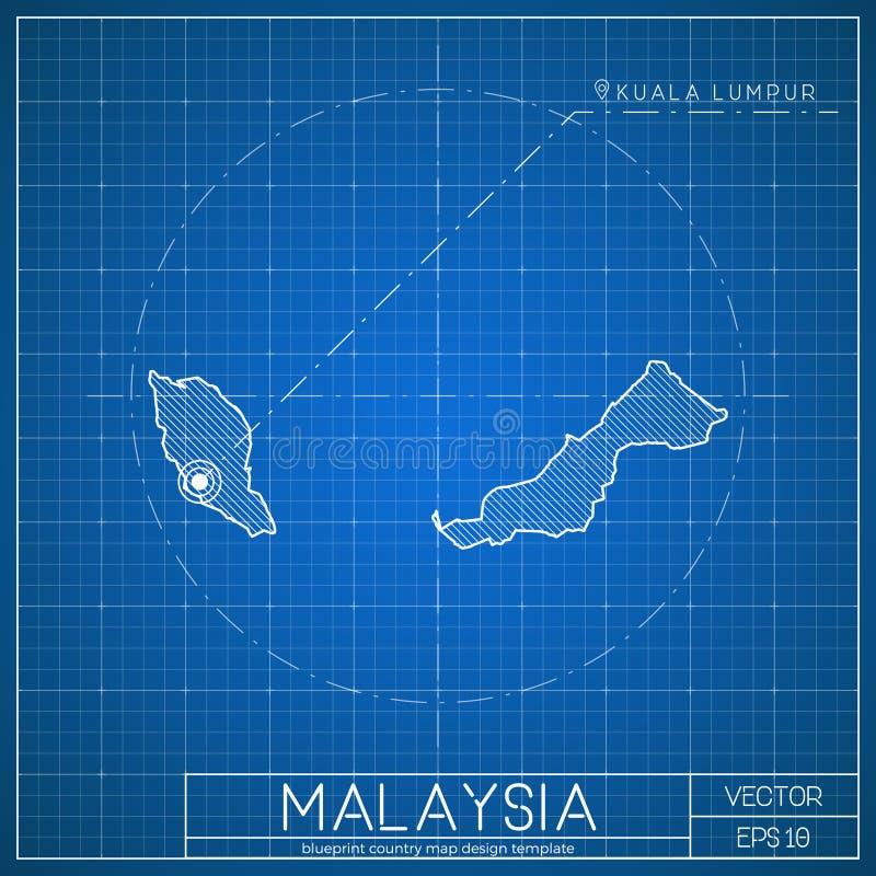 马来西亚图纸与首都的地图模板 皇族释放例证