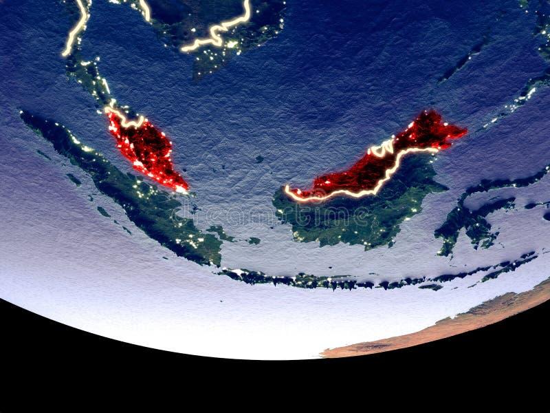 马来西亚在从空间的晚上 库存例证