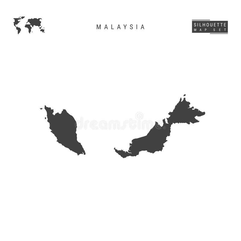 马来西亚在白色背景隔绝的传染媒介地图 马来西亚的高详细的黑剪影地图 向量例证