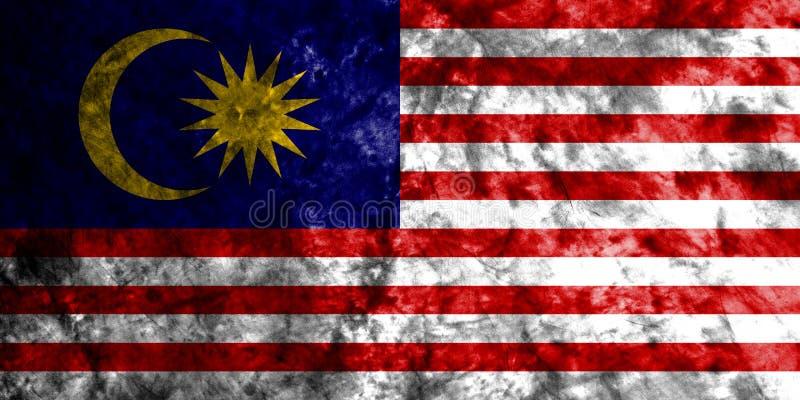 马来西亚在老肮脏的墙壁上的难看的东西旗子 皇族释放例证