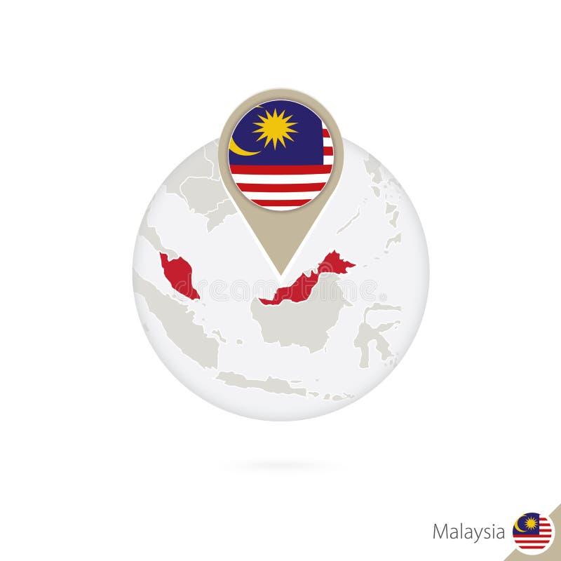 马来西亚地图和旗子在圈子 马来西亚,马来西亚的地图旗子别针 马来西亚的地图仿照地球样式的 皇族释放例证