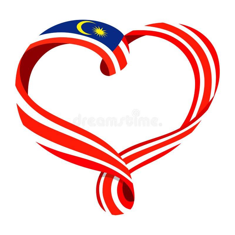 马来西亚旗子丝带型心脏 库存例证