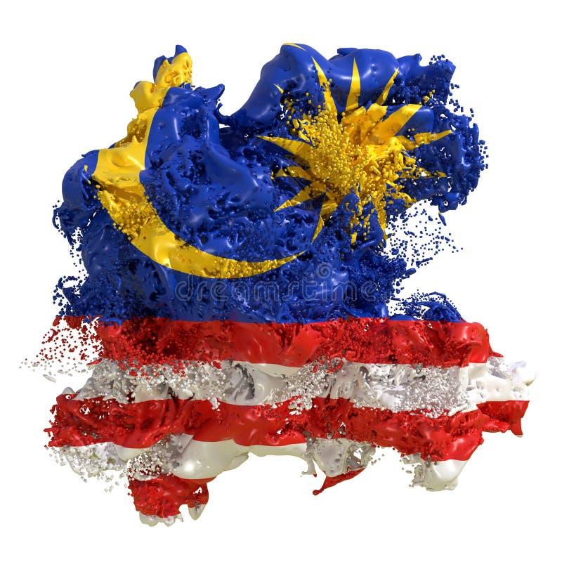 马来西亚旗子液体 向量例证