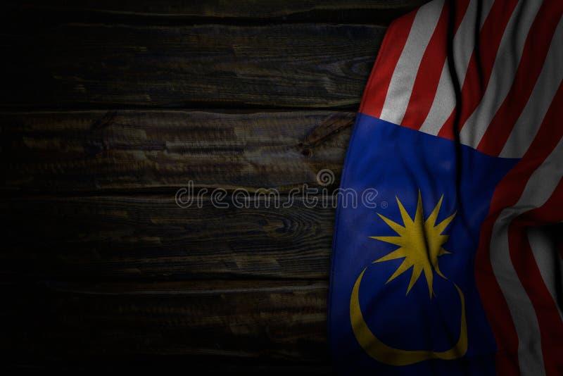 马来西亚旗子的俏丽的黑暗的图片与大折叠的在与自由空间的老木头文本的-任何宴餐旗子3d例证 向量例证