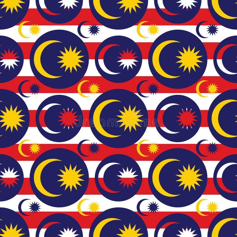 马来西亚旗子象对称无缝的样式 库存例证
