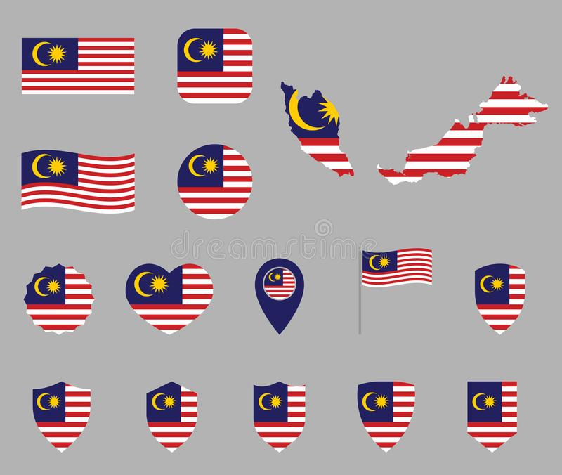 马来西亚旗子象集合,马来西亚的旗子的标志 皇族释放例证