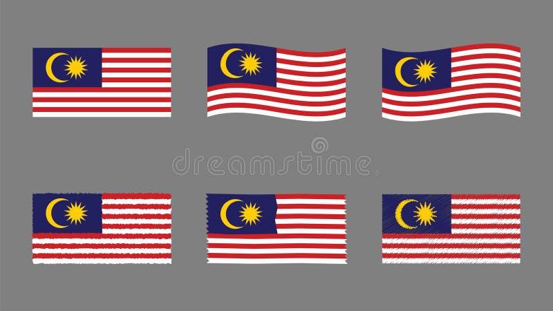 马来西亚旗子集合、正式马来西亚的旗子的颜色和比例 向量例证