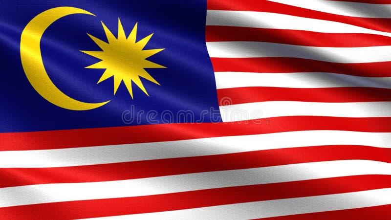 马来西亚旗子,与挥动的织品纹理 皇族释放例证