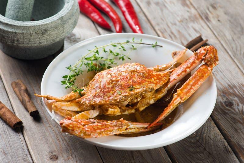 马来西亚样式辣螃蟹 库存照片