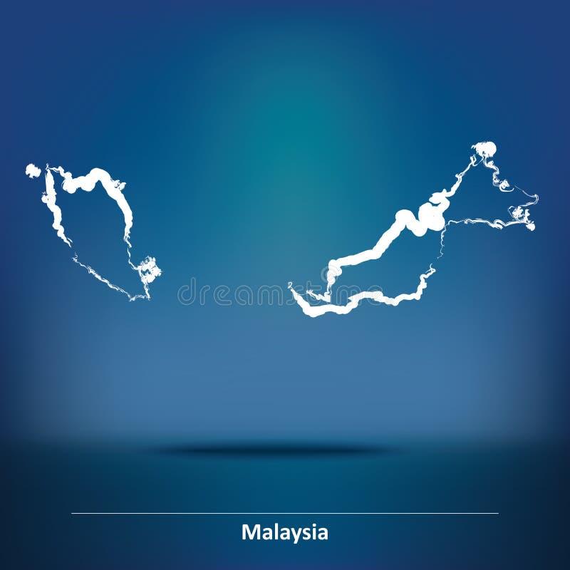 马来西亚的乱画地图 向量例证