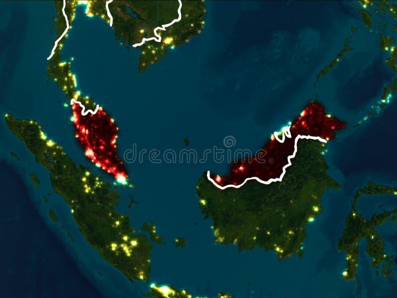 马来西亚的地图在晚上 库存例证