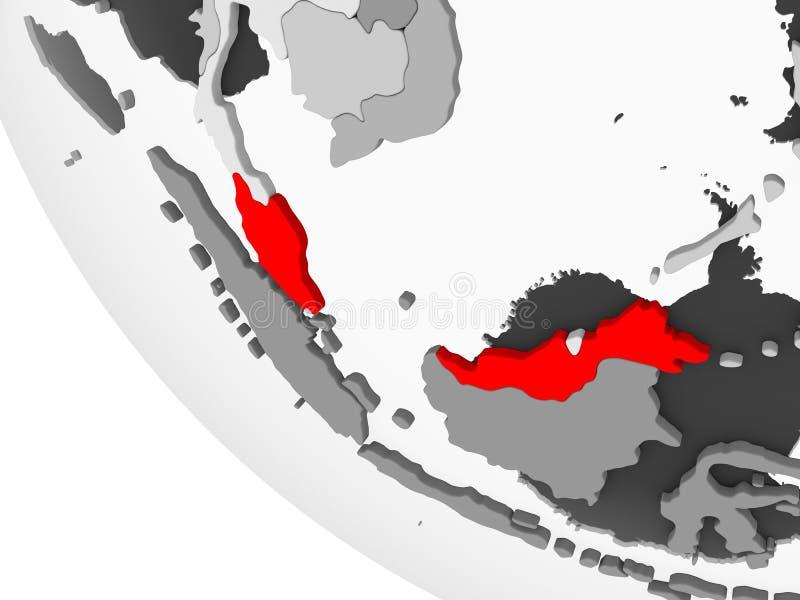 马来西亚的地图红色的 库存例证