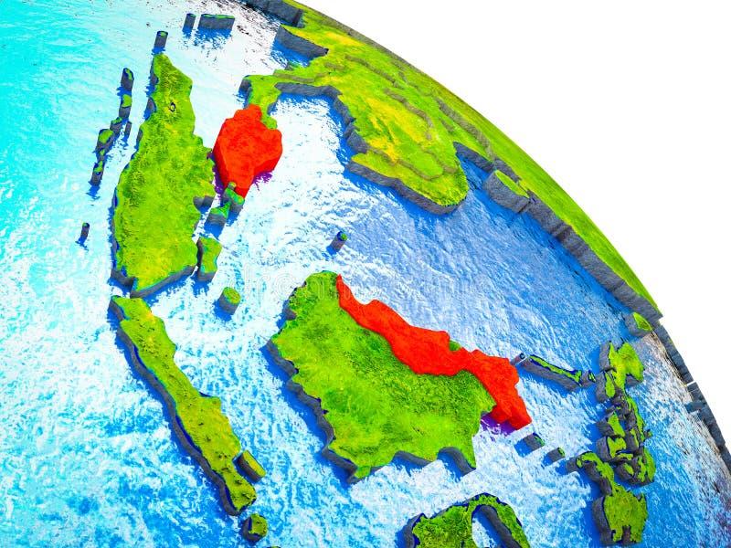 马来西亚的地图3D地球上的 库存例证
