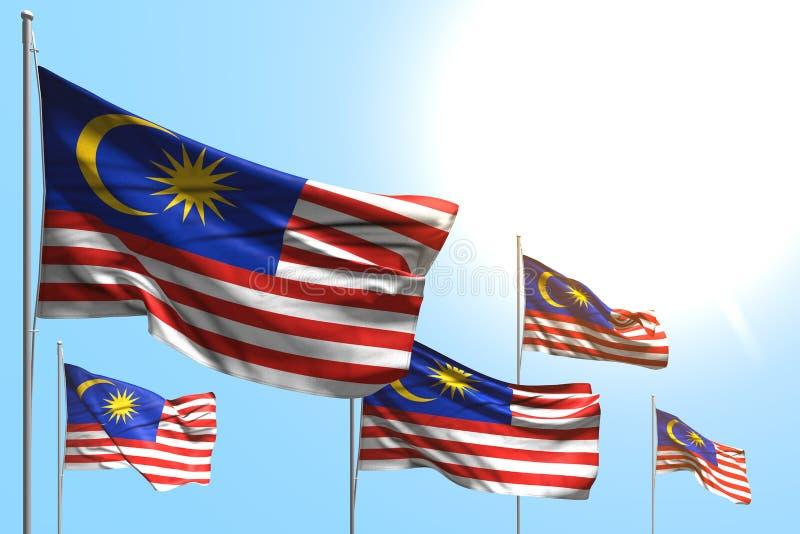 马来西亚的好的5面旗子是在天空蔚蓝背景-所有庆祝旗子3d例证的波浪 皇族释放例证