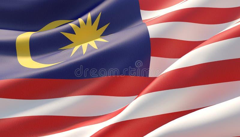 马来西亚的挥动的高度详细的特写镜头旗子 3d?? 皇族释放例证