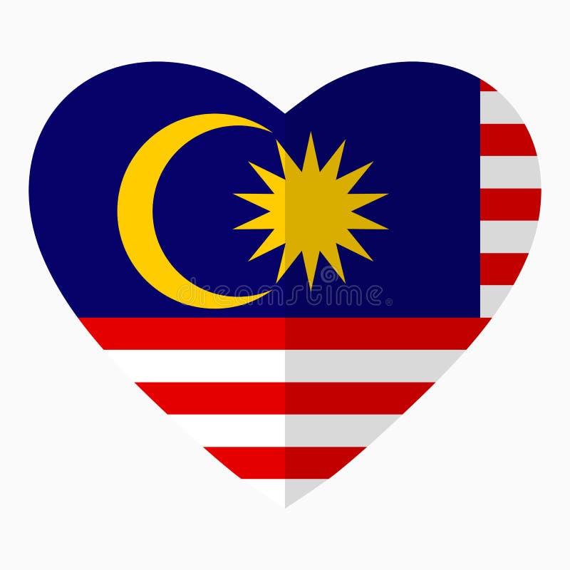 马来西亚的旗子以心脏,平的样式,标志的形式 向量例证