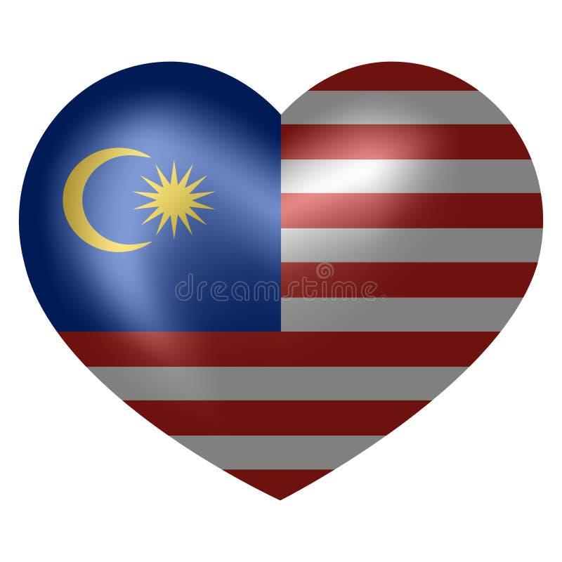 马来西亚的旗子心形的 ?? 向量例证