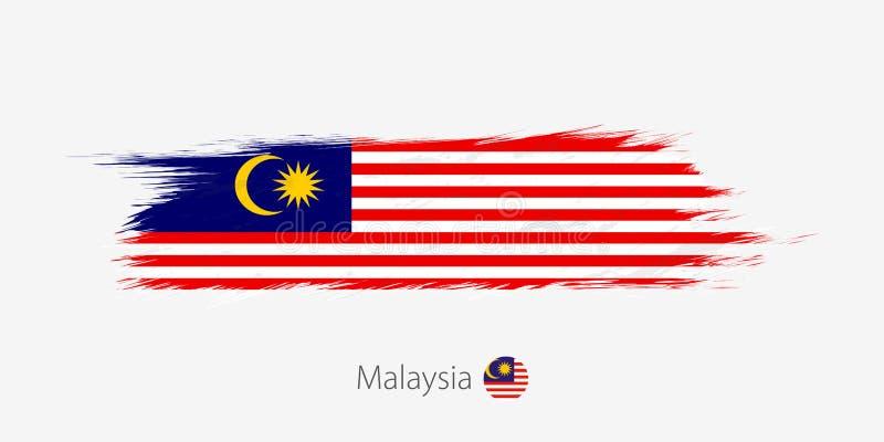 马来西亚的旗子,在灰色背景的难看的东西抽象刷子冲程 向量例证