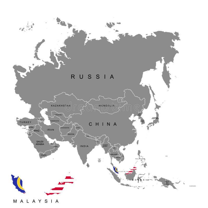 马来西亚的疆土亚洲大陆的 标志马来西亚 也corel凹道例证向量 库存例证
